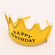 Children Adult Button Batteries Operated LED Light Happy Birthday Crown Hat For Birthday Party Holiday Yellow - intl