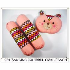 Darby Set Bantal Guling Bayi Motif Squirrel Oval Peach