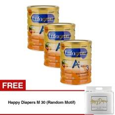 Enfagrow A+ 3 Susu Pertumbuhan - Madu - 800 gr Tin - 3 Kaleng + FREE Happy Diapers M 30 (Random Motif)