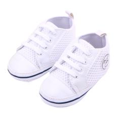 Eozy Sepatu Anak Bayi sepatu kets Prewalker bertautan Balita bernapas dulu Walker sepatu anak Cewek (putih)