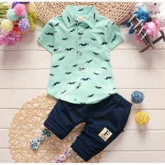 Good Service Baby Boys Clothing Sets Polo Shirts Pure Cotton Moustache Printing - intl