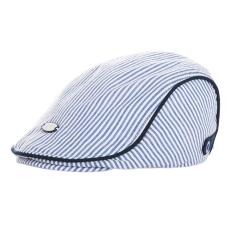 Gracefulvara Lucu Anak Bayi Anak Balita Anak Topi Baret Bergaris Puncaknya Topi Bisbol Kaset (Biru)