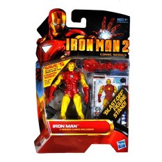"Hasbro Year 2009 Ironman 2 Comic Series 10Cm Tall Action Figure Set#26 - Iron Man With Snap-On Red Repulsor Blast, ""Blast-Off"" Figuredisplay Stand Plus 3 Armour Cards - Intl"