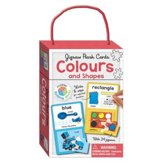 Jigsaw Flash Cards COLOURS & SHAPES (wipe clean cards with jigsaws) - Mainan Edukasi