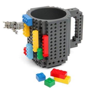 360DSC Creative and Funny Brick Mug Building Blocks Coffee Tea Cup DIY Block Puzzle Mug - Grey - intl
