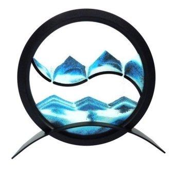 Desktop Mesmerising Yin-Yang Motif Round Sand Picture, Blue Colour - intl
