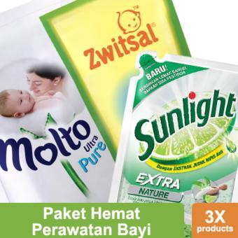 Paket Hemat Perawatan Bayi: Molto Pure 900ml, Sunlight Nature 800ml, Zwistal Baby Bath 2in1 450ml