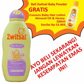 Zwitsal Baby Powder Extra Care 100g + BONUS Cussons Baby Hair Lotion 200ml