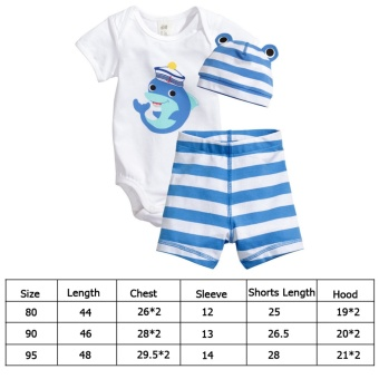 360DSC 3-Pieces Set Baby Infant Short Sleeve Romper Cotton Clothes Jumpsuit with Hat and Shorts - Dolphin - Intl