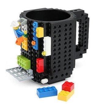 360DSC Creative and Funny Brick Mug Building Blocks Coffee Tea Cup DIY Block Puzzle Mug - Black - intl
