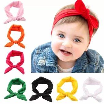 Welink 8x Baby Girl Elastic Turban Headbands Head Wrap Rabbit Ear Hair Band intl