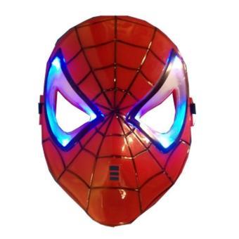 Topeng Spider Man Lampu Musik Menyala Merah. >>>>