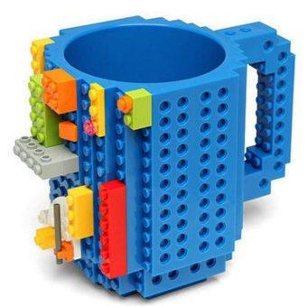 360DSC Creative and Funny Brick Mug Building Blocks Coffee Tea Cup DIY Block Puzzle Mug - Blue - intl