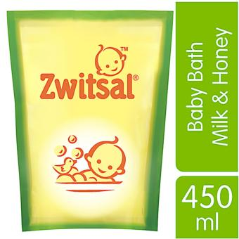 Zwitsal Baby Bath Natural dengan Milk & Honey Refill - Pouch - 450mL