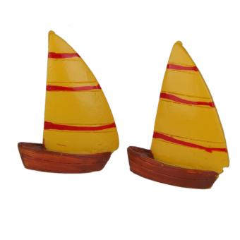 BolehDeals 2pcs Miniature Dollhouse Bonsai Garden Landscape Sailing Boat Decor Yellow
