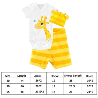 360DSC 3-Pieces Set Baby Infant Short Sleeve Romper Cotton Clothes Jumpsuit with Hat and Shorts - Yellow Giraffe - Intl