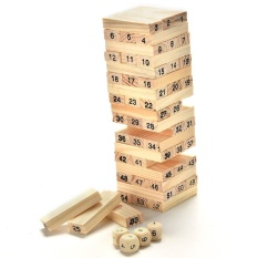 Jenga Game Domino Wooden Tumbling Stacking Tower Building Blocks Kids Toy - intl