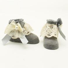 Jiayiqi 1 pasang bayi perempuan Pearl ikatan simpul tali kerut kaus kaki katun yang nyaman jala