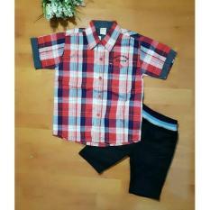 Kemeja Anak Cowok Keren | Motif Kemeja Motif Garis Merah | Baju Setelan Anak