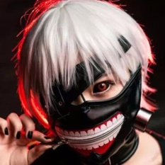 Kuhong High Quality Clearance Tokyo Ghoul 2 Kaneki Ken Mask Adjustable Zipper Masks PU Leather Cool Mask - intl