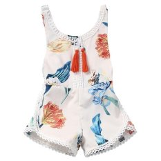 LALANG Flower Tassel Romper Pretty Baby Girls Jumpsuit Outfits (White) - intl