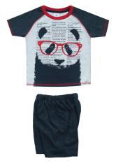 MacBear Baju Setelan Anak Reading Panda Raglan Shirt Charcoal Size 1