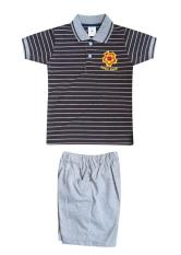 MacBear Baju Setelan Polo Anak Robo Club Grey Stripes on Coffee Size 1