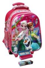 Onlan Disney Frozen Fever Flower 5D Timbul Hologram Tas Trolley Anak Sekolah TK Dua Kantung dan Kotak Pensil Unik - Pink
