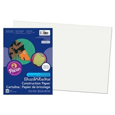 Pacon SunWorks Construction Paper, 12-Inches by 18-Inches, 50-Count, White - intl