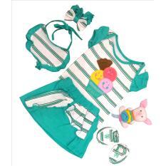 Setelan Bayi Perempuan Bela-belo (Baju-Rok-Bibs-Bando-Alas kaki) 0-12 Bln - Motif Garis