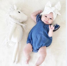 Super Fashion Baby Girl Denim Stylish Dress Jumpsuit Cute Romper Triangle Pants - intl