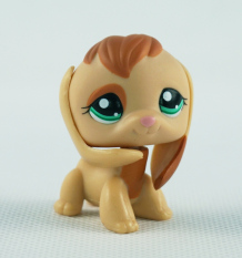 Tan Brown Beagle Dog Girl toys Littlest Pet Shop Ultra LPS 1664 Animals Green Eyes Puppy Kids Toys - Intl