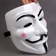 Topeng Anonymus Warna Putih Tebal