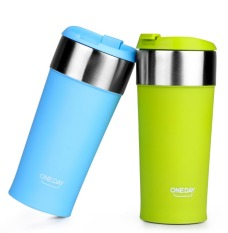 400ml Thermos Cup Stainless Steel Thermos Mug Coffee Cup Thermo Mug Insulated Thermo Mugs Auto Car Heating Thermal Cups (Blue) (Intl)