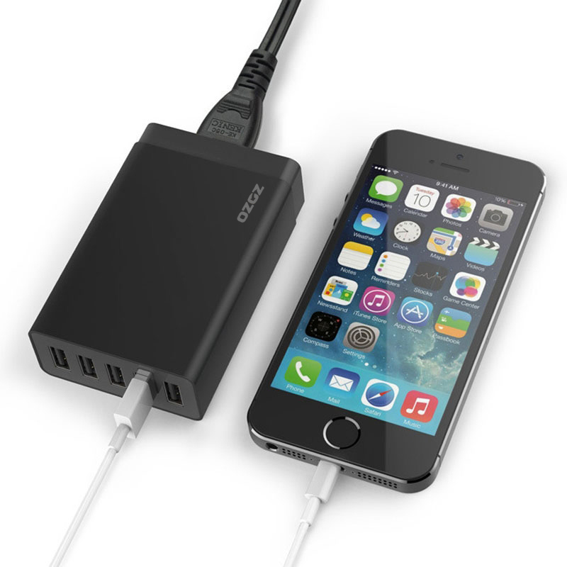 40W 5-Port High Speed USB Smart Desktop Charger Power Adapter for iPhone/iPad Air 2/Galaxy (black) (Intl)