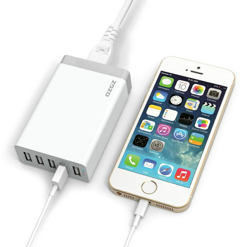 40W / 8A 5-Port Desktop USB Charger Wall Power Adapter for Galaxy S6 and S6 Edge, iPhone 6/6 Plus, iPad and More (Intl)