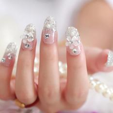 3D Bride Wedding False Artificial Fake Nails Tips French White Stud Finger - intl