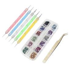 5 buah Nail Art batu permata yang menghiasi mengambil pulpen + 2 kasus dari 3D Nail Art manicure berlian imitasi kancing + pinset dibetulkan Nail Art alat Kit