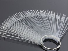 50pcs Natural False Nail Art Tips Sticks Polish Display Fan Practice DIY Salon Clear - intl