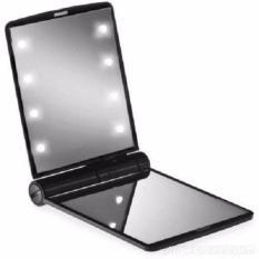 AIUEO - Cermin Led Terdapat 8 Butir Lampu Led & Kaca Rias Mirror Make Up Led - Hitam