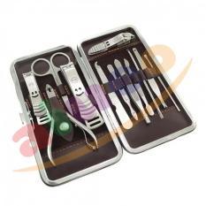 AIUEO Manicure Pedicure Set Grooming Stainless Steel 12 in 1 Untuk Perawatan Kuku, Gunting Kuku dan Pembersih Kuku