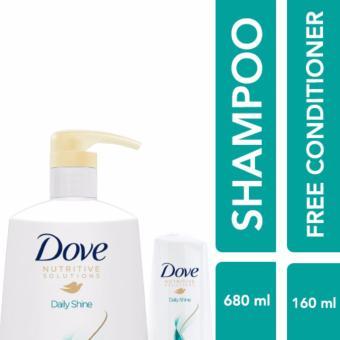 Dove Daily Shine Shampoo 680Ml Free Conditioner 160Ml
