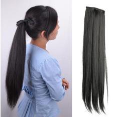 Gadis wanita panjang rambut palsu wig ekor kuda lurus ekstensi - International