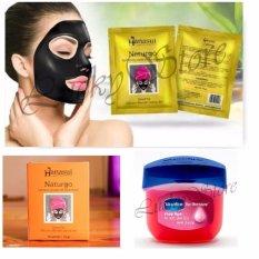 Hanasui Naturgo Masker Lumpur Wajah Sensitif 10 Sachet + Free Vaseline Lip Therapy USA Pocket Size 7g - Rosy Lips