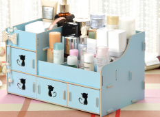Home-Klik Rak Kayu cosmetic Storage Stationary Organizer - Biru