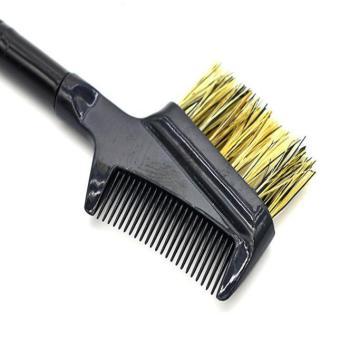 Steel Eyebrow Eyelash Dual-Comb Extension Brush Metal Comb Cosmetic Makeup Tool Pink - intl