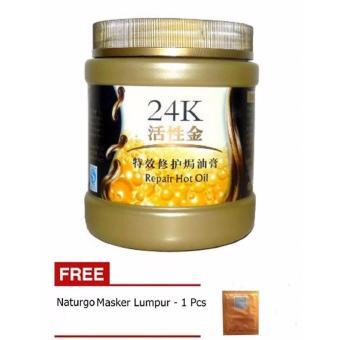 24k Active Gold Hair Mask - Masker Rambut Aromatic Moisturizing & Dandruff Removing + Gratis Naturgo Masker Lumpur - 1 Buah