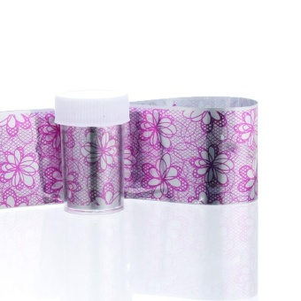 FashionDoor Holographic Nail Art Transfer Blades of Black Lace Flowers Nails Sheet H - intl