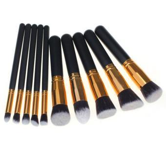 10PCS Cosmetic Makeup Brush Brushes Set Foundation Powder Eyeshadow Gold - intl