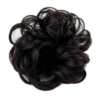 Harga Terbaru Wanita rambut bergelombang keriting piring roti ekstensi palsu sanggul ikat rambut hitam alami